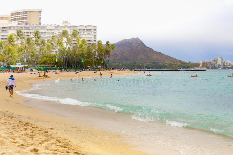 Hawaii oahu waikiki beach one of the most desirable tourist destinations in the world stock photos