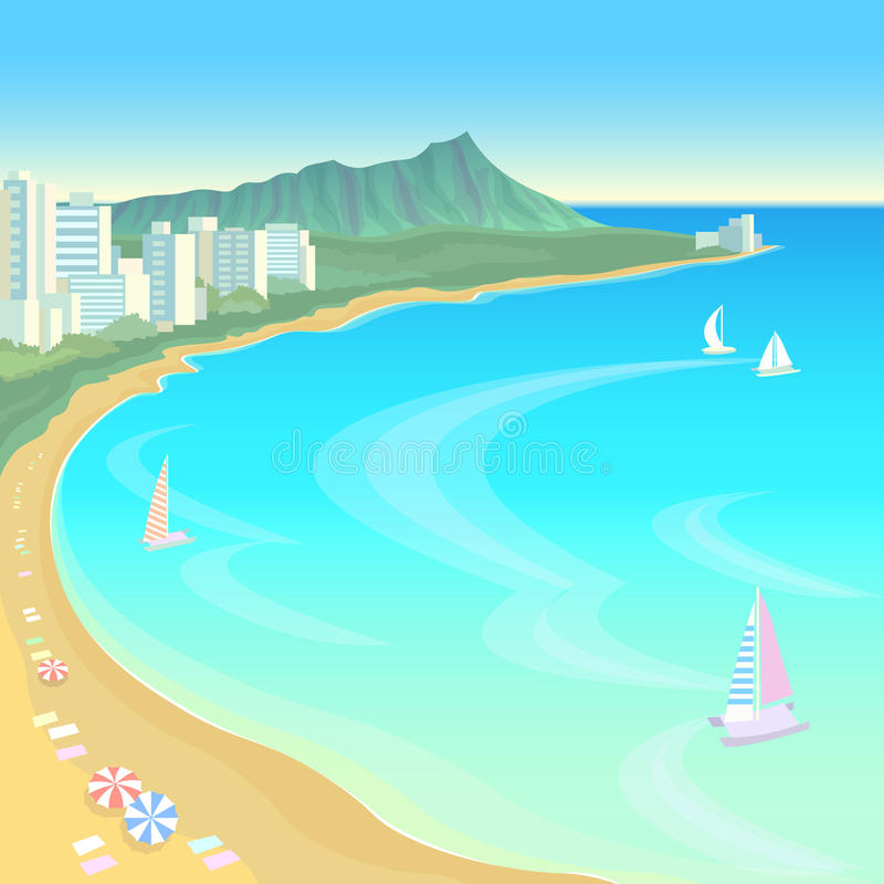 Hawaii ocean bay blue water sunny sky summer travel vacation background. Boats sand beach umbrellas hot day scene royalty free illustration