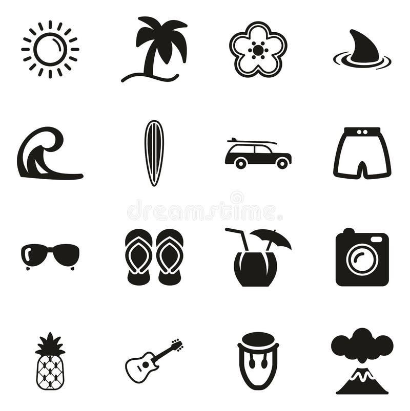 Hawaii- oder Hawaii-Lebensstil-Ikonen vektor abbildung