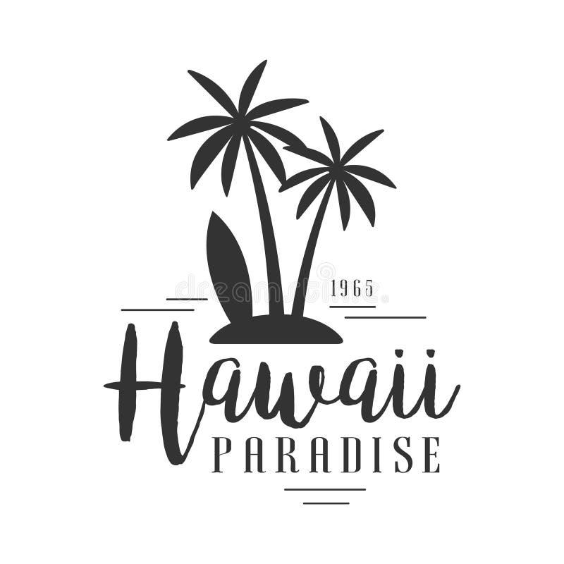 Hawaii paradis, efter logomallen 1965, svartvit vektorillustration stock illustrationer