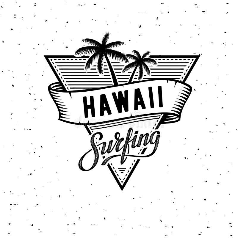 Hawaii que practica surf el ejemplo del vector del WB en el tema de la resaca y que practica surf en Hawaii stock de ilustración