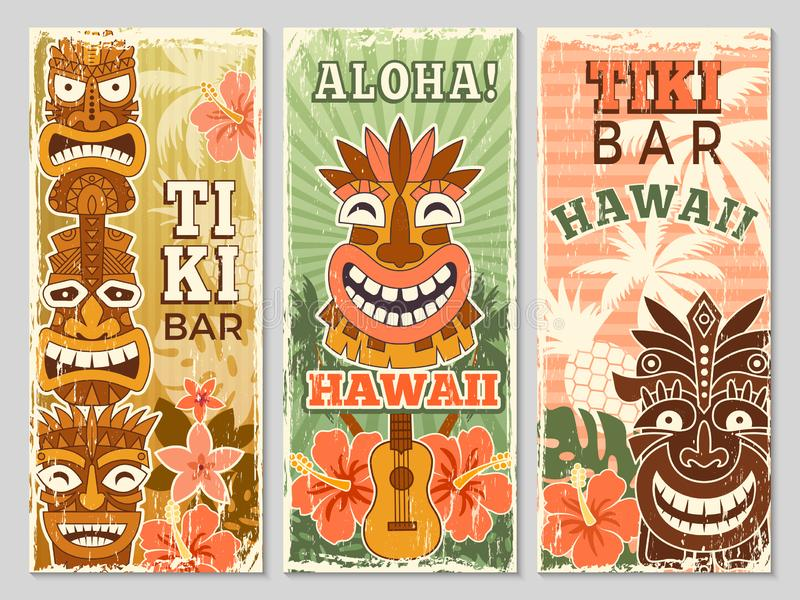 Hawaii retro banners. Aloha tourism summer adventure dancing party in tiki bar tribal masks vector illustrations. Hawaii retro banners. Aloha tourism summer stock illustration