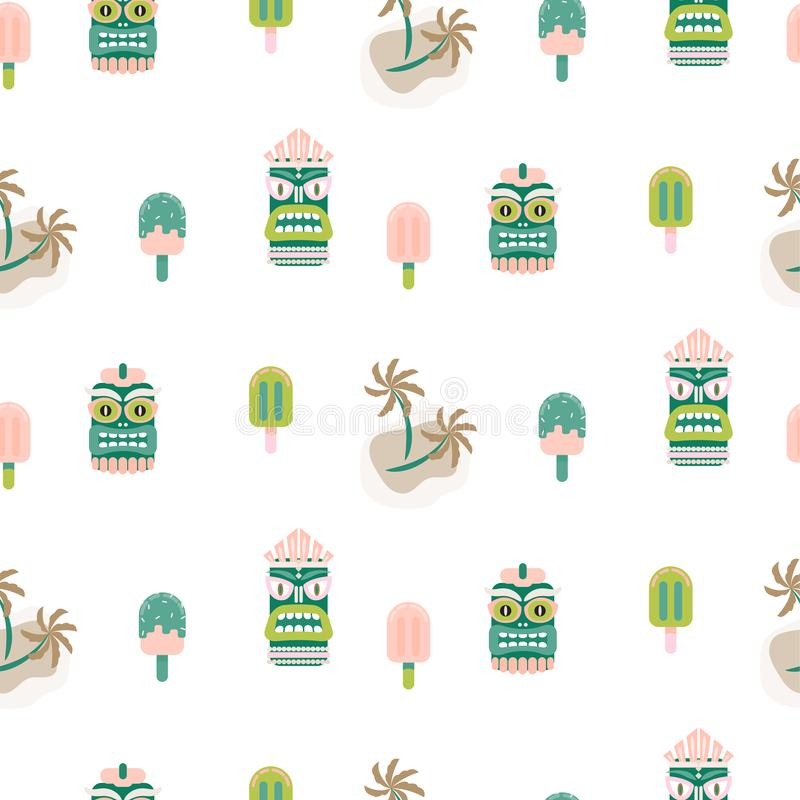 Hawaii seamless vector pattern. Tiki mask and palm trees white background. Green and pink vacation mood pattern background royalty free illustration