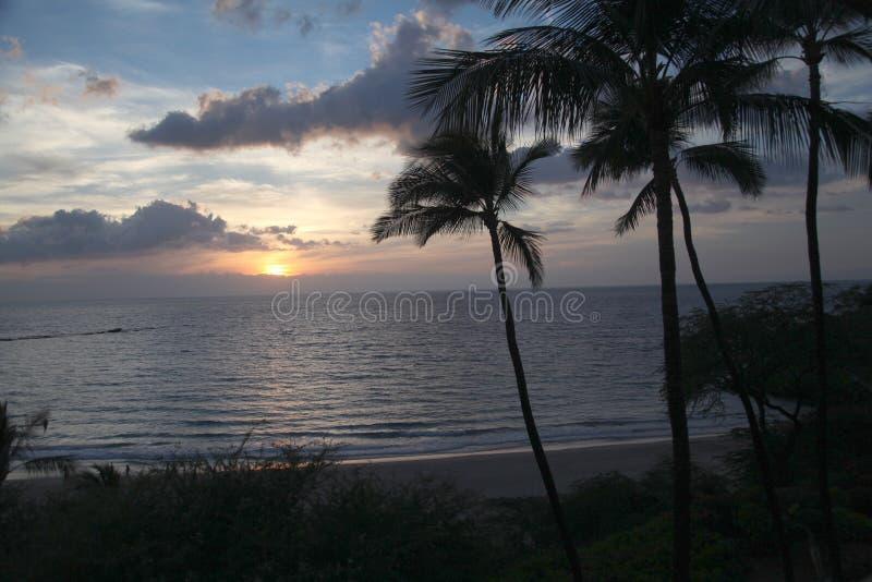Hawaii solnedgång fotografering för bildbyråer