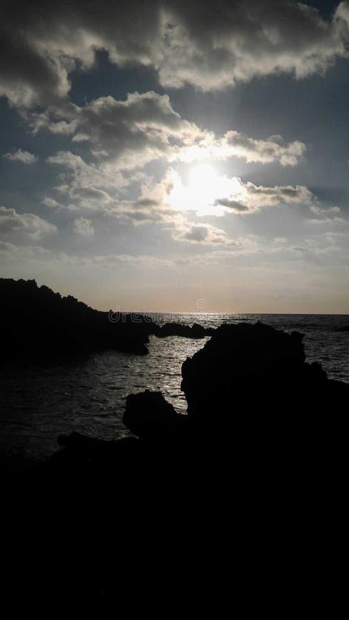 Hawaii solnedgång royaltyfria bilder