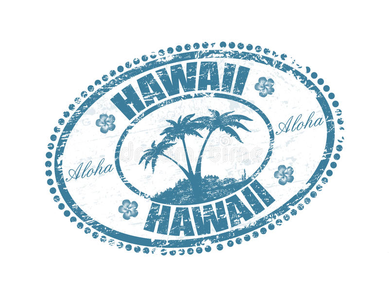 Hawaii stamp. Blue grunge rubber stamp with the palms shape and the name of Hawaii islands written inside the stamp