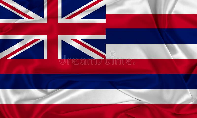 Silk Hawaii State Flag. A Hawaii state flag over silk texture stock photography