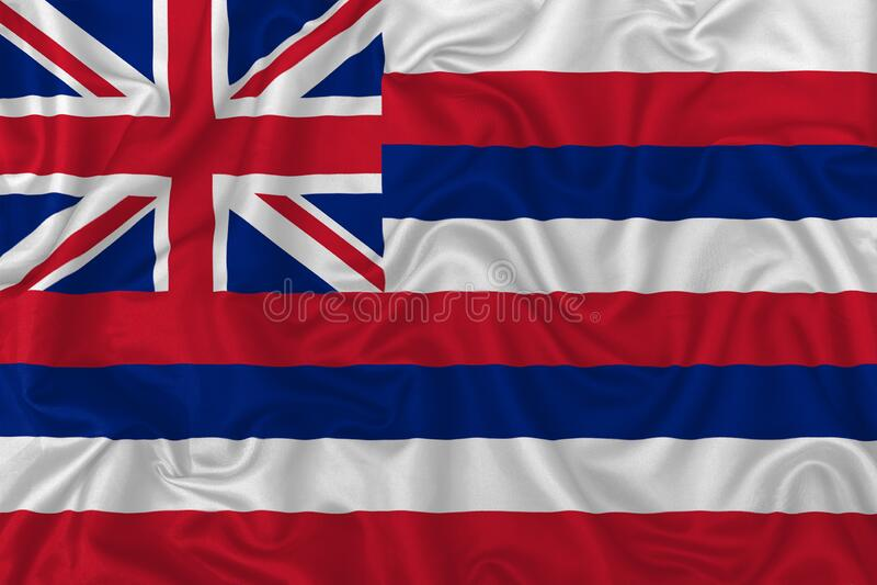 Hawaii state flag. On a wavy silk satin fabric texture background vector illustration