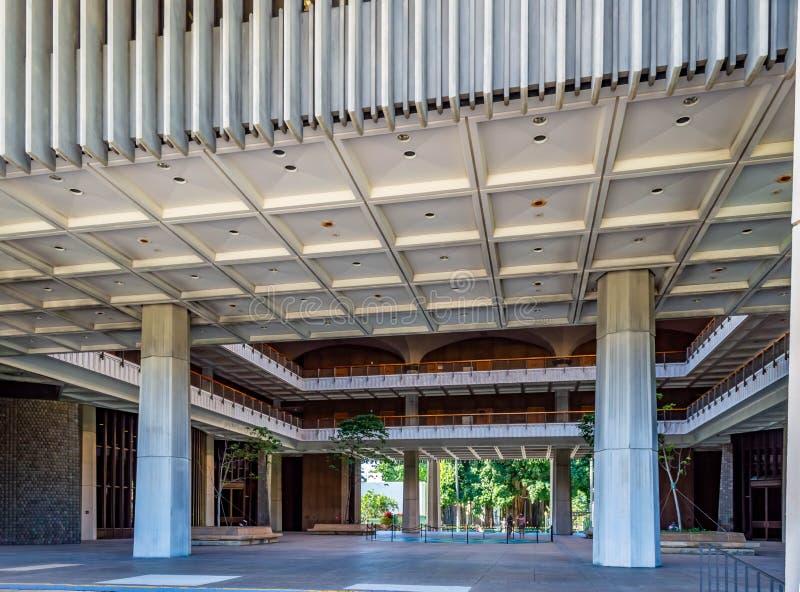 Hawaii statKapitolium Front Entrance arkivbilder
