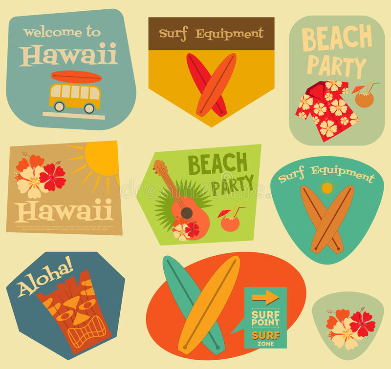 Hawaii stickers collection vector illustration