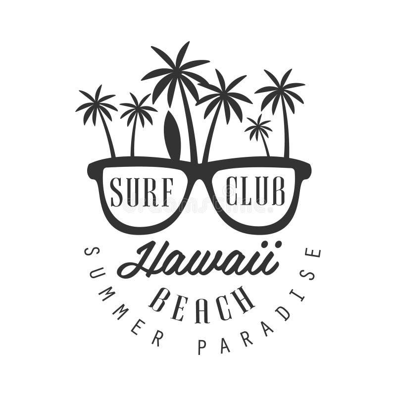Hawaii strand, mall för sommarparadislogo, svartvit vektorillustration vektor illustrationer