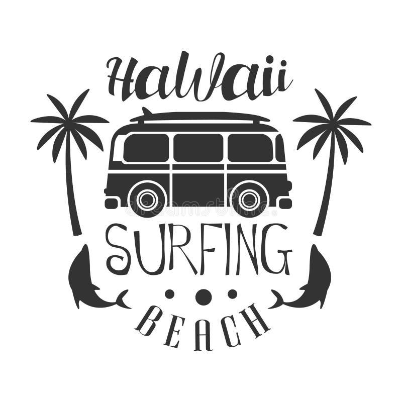 Hawaii strand som surfar logomallen, svartvit vektorillustration royaltyfri illustrationer