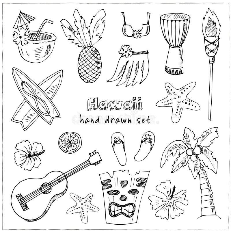 Hawaii Symbols And Icons Including Hula Skirt Tiki Gods Totem
