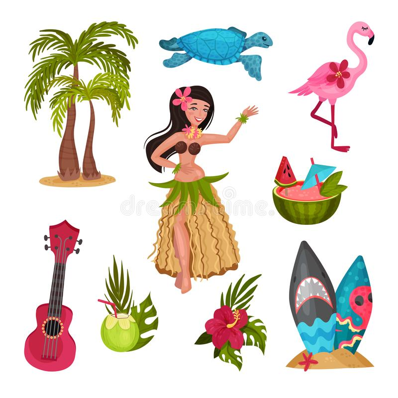 Hawaii symbols set. Vector illustration on a white background. Hawaii symbols set. Girl in a traditional costume, a blue turtle, a pink flamingo, a cocktail in vector illustration