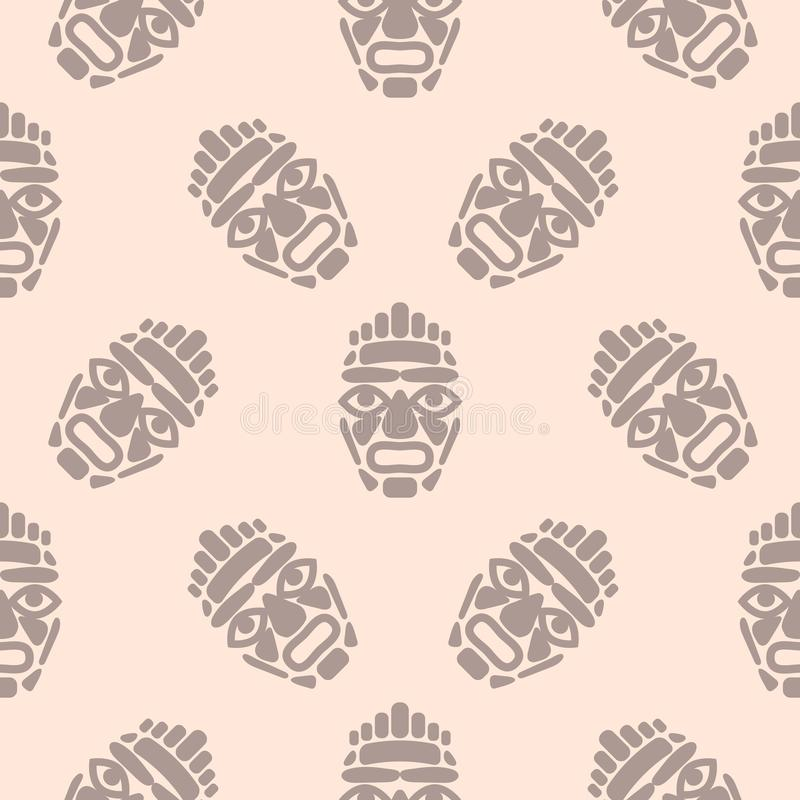 Hawaii tiki mask seamless simple pattern. royalty free illustration