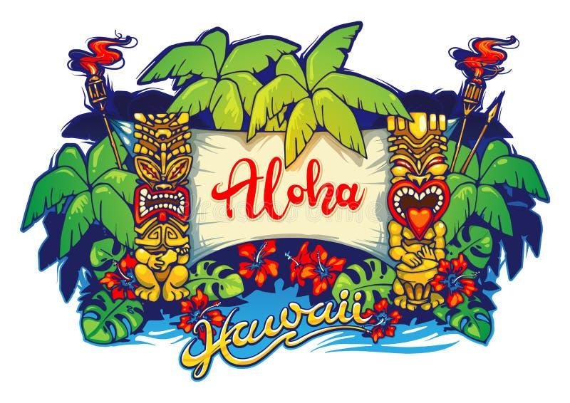 hawaii Tiki-Statuen, Palmen und eine Fahne lizenzfreie abbildung