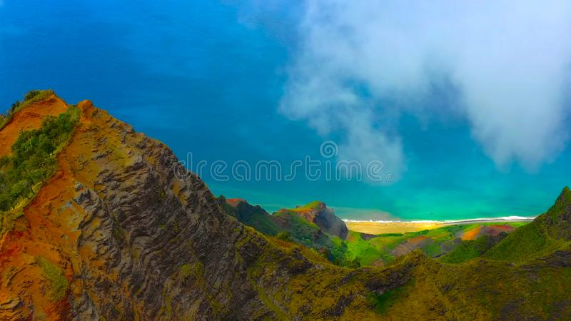 Hawaii travel aerial background of Na Pali coast, Kauai, Hawaii helicopter view. Nature coastline landscape in Kauai island, Hawai stock image