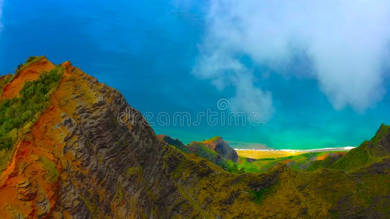 Hawaii travel aerial background of Na Pali coast, Kauai, Hawaii helicopter view. Nature coastline landscape in Kauai island, Hawai. I, USA. Panoramic banner crop royalty free stock photos
