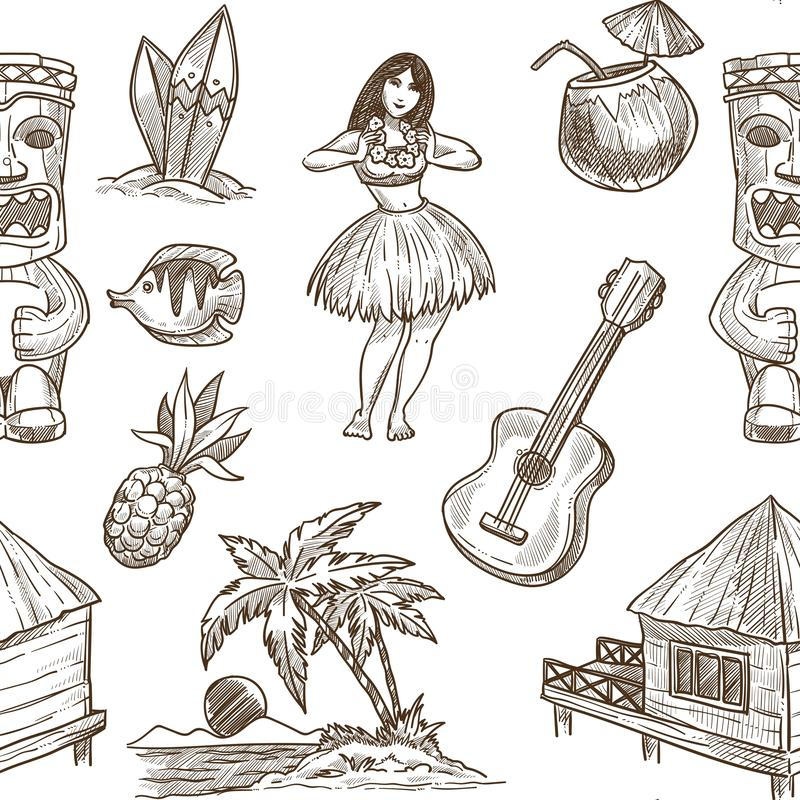 Hawaii travel sketch pattern background. Vector seamless tropical exotic design of Hawaiian symbols stock illustration