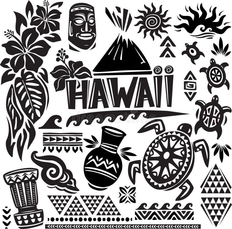 Hawaii uppsättning royaltyfri illustrationer