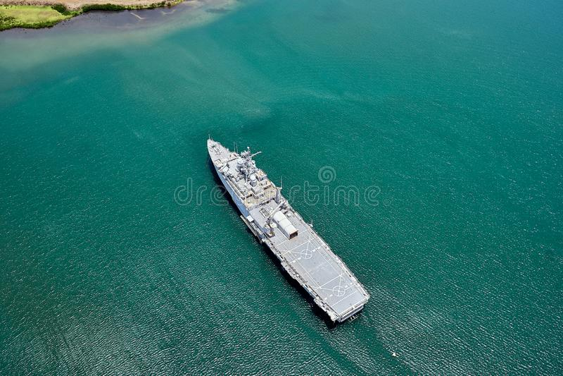 Hawaii, USA - August 8, 2017 : Top down view of the battleship near the USS Arizona Memorial Harbor. Hawaii, USA - August 8, 2017 : A top down view of the stock photography