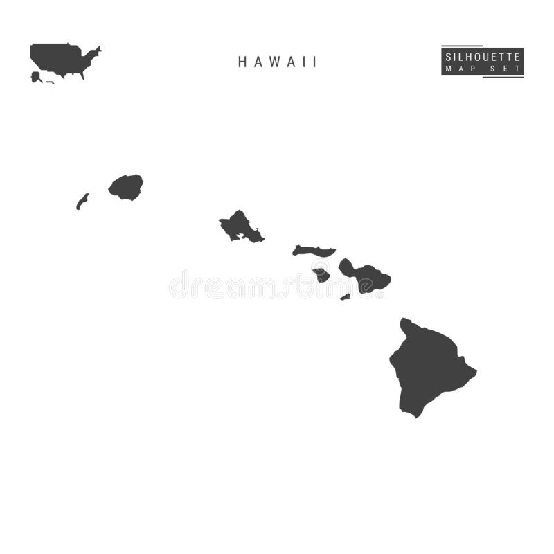 Hawaii USA påstår vektoröversikten som isoleras på vit bakgrund Hög-specificerad svart konturöversikt av Hawaii royaltyfri illustrationer