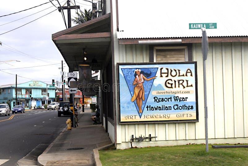 HAWAII_USA_visito-Weg durch Hula-Mädchenanschlagtafel stockfotografie
