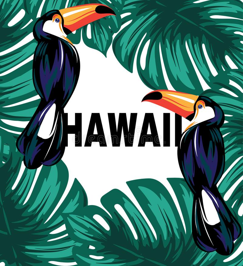 Hawaii. Vector poster with hand drawn illustration of toucan and palm leaves. Template for card, placard, banner, print for t-shirt vector illustration