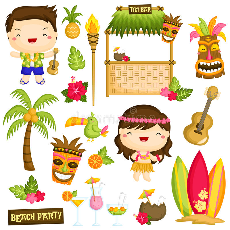 Hawaii Vector set. A vector of hawaii people and object