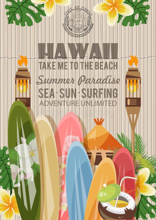 Hawaii vector travel illustration with surfboards. Summer template. Beach resort. Sunny vacations vector illustration
