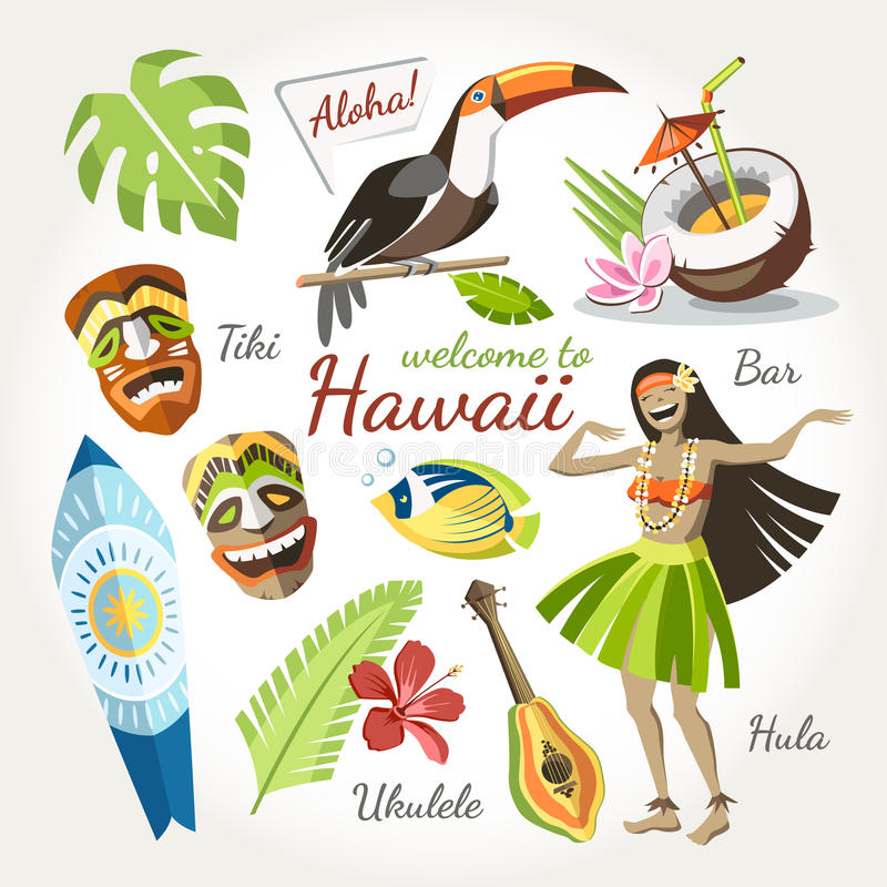 Hawaii vektorsamling royaltyfri illustrationer