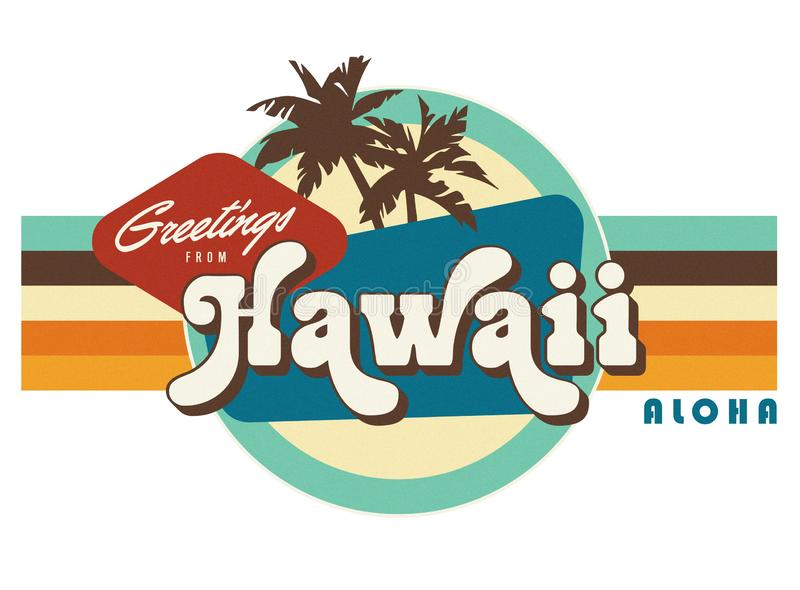 Hawaii Vintage Postcard style t-shirt design art. The Aloha state greetings 1976 logo retro 1970`s vector illustration