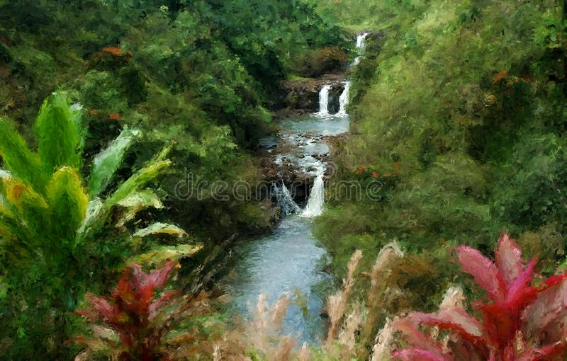 Hawaii waterfall painting royalty free stock images