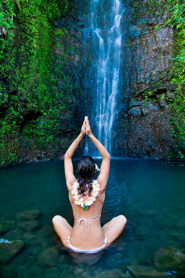 Download Hawaii waterfall woman stock photo. Image of fitness - 10743096