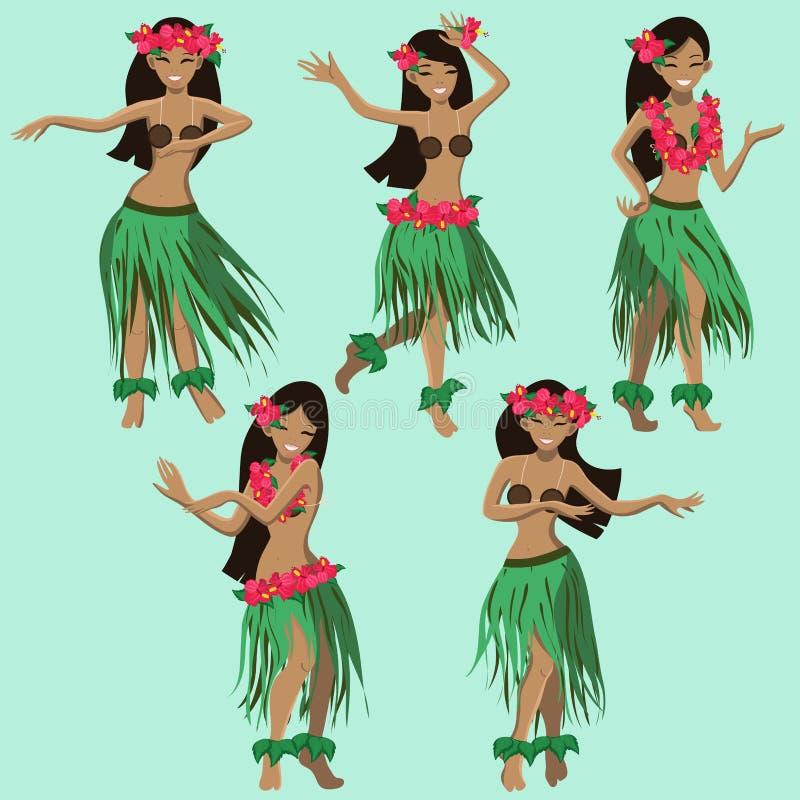 Hawaiiaans beeldverhaalmeisjes het dansen hula vectorbeeld vector illustratie