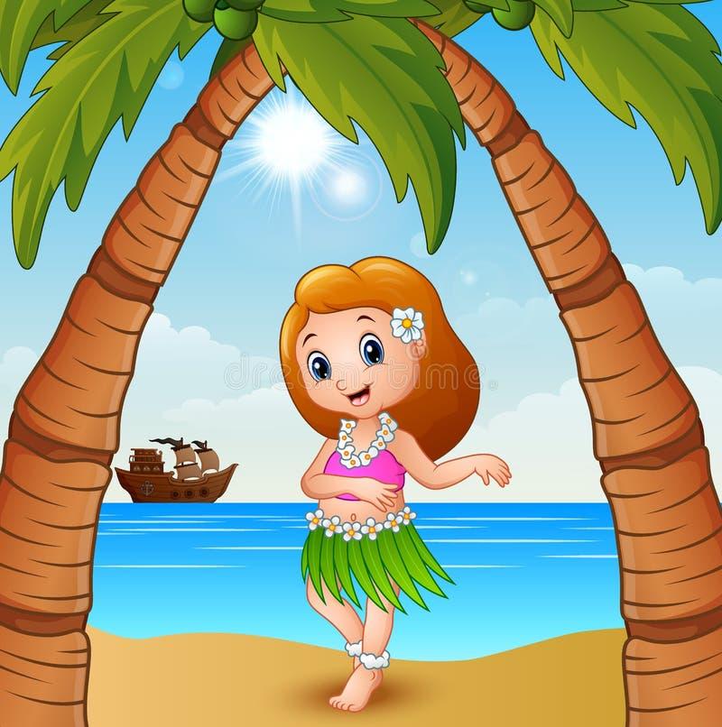 Hawaiiaans dansersmeisje op het strand stock illustratie
