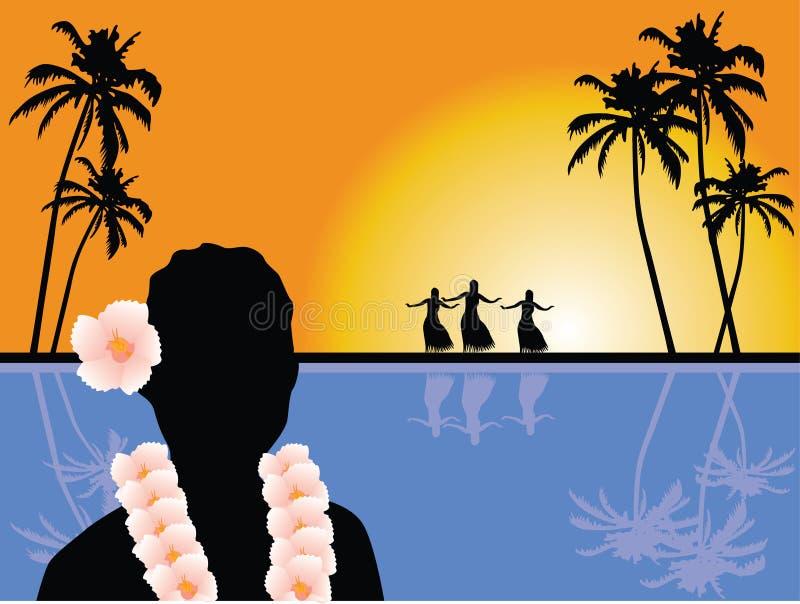 Hawaiiaans landschap royalty-vrije illustratie