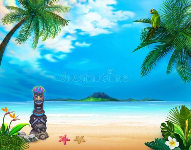 Hawaiiaans landschap met grappige god en groene papegaai stock illustratie