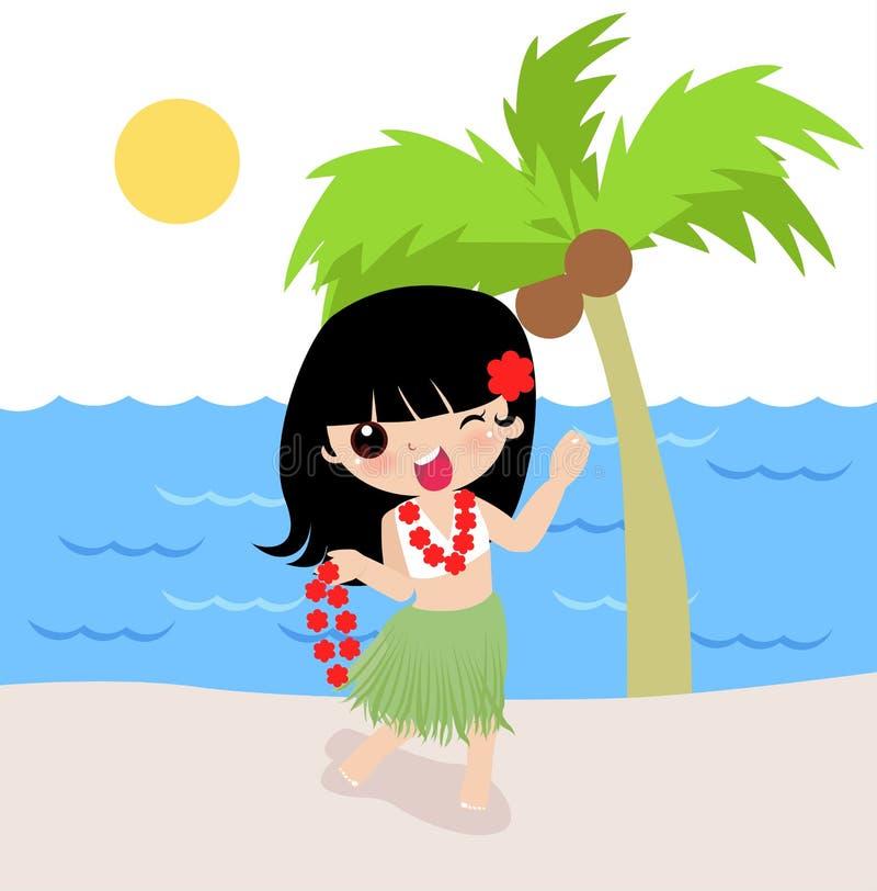 Hawaiiaans Meisje Hula vector illustratie