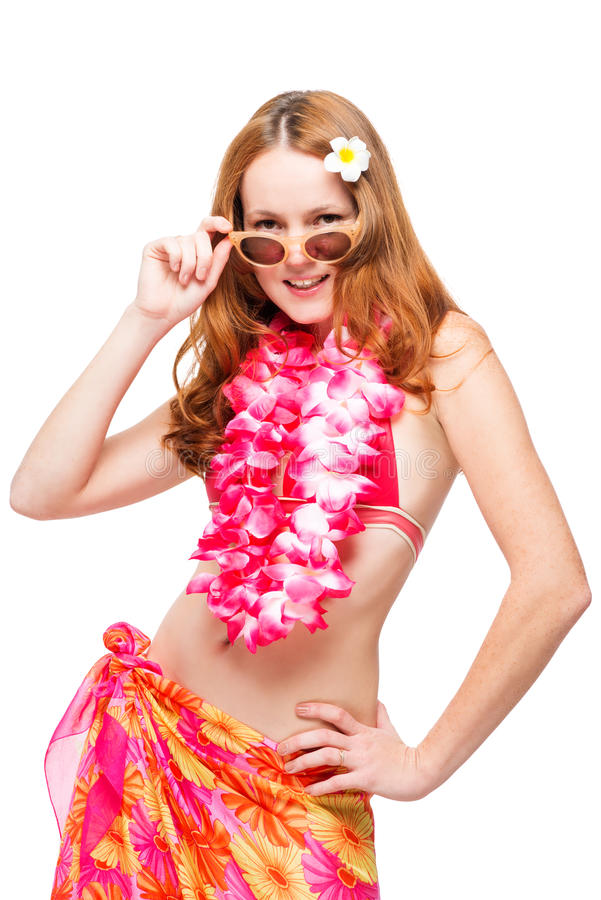 Hawaiiaans model in bikini op witte achtergrond in studio royalty-vrije stock afbeelding