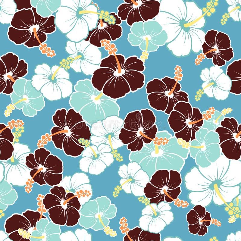 Hawaiiaans Naadloos Patroon met hibiscusbloemen royalty-vrije illustratie