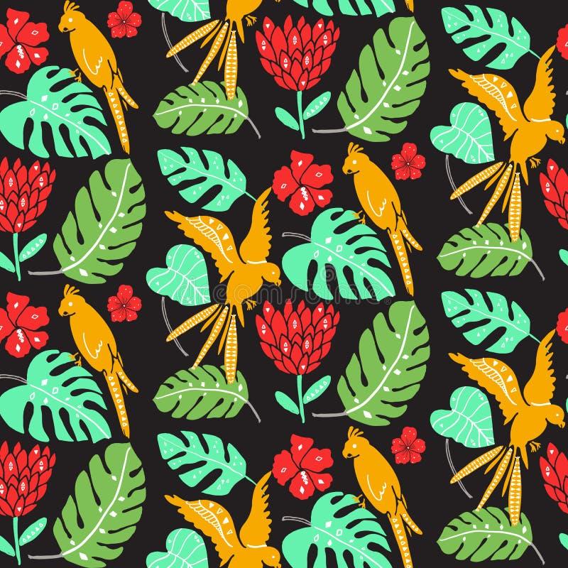 Hawaiiaans patroon met papegaaien, palmbladen en hibiscusbloemen Heldere naadloze textuur met exotische flora en fauna vector illustratie