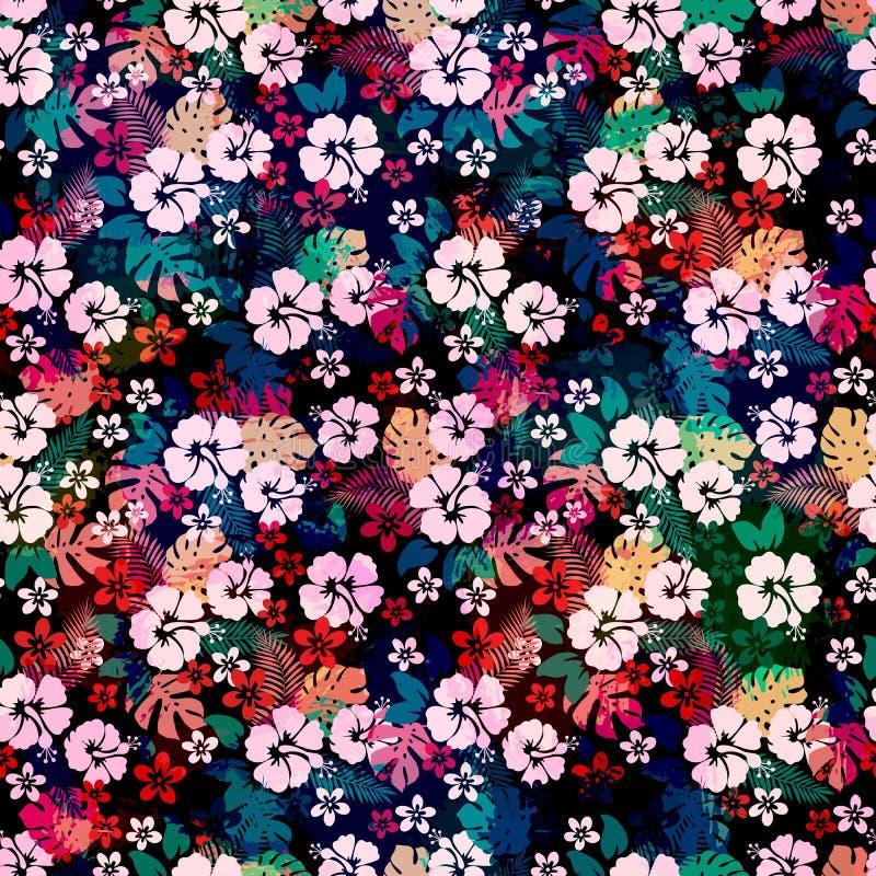 Hawaiiaans tropisch bloemen naadloos patroon royalty-vrije illustratie