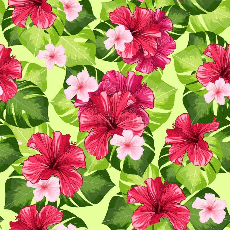 Hawaiiaans van de Hibiscusgeur de Bloem en van Monstera Bladeren Vector Naadloos Patroon stock illustratie