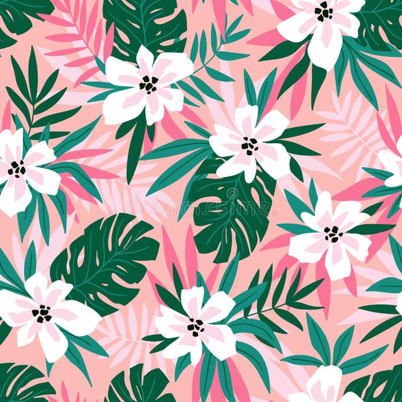 Hawaiiaans vector naadloos patroon met roze bloemen en groene bladeren Modieuze bloemen eindeloze druk voor het ontwerp van de de royalty-vrije illustratie