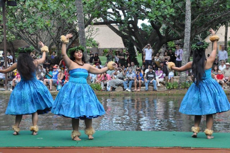 Hawaiiaanse dans bij een kanospectakel stock afbeelding