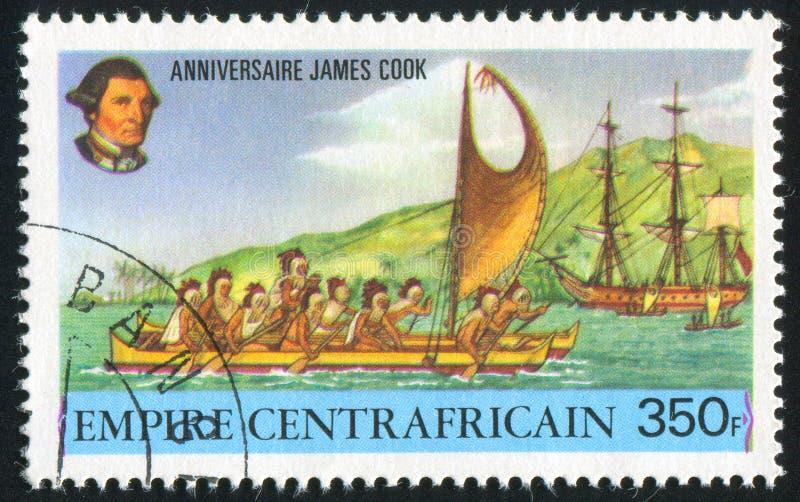 Hawaiiaanse die boot door Canada wordt gedrukt royalty-vrije stock foto