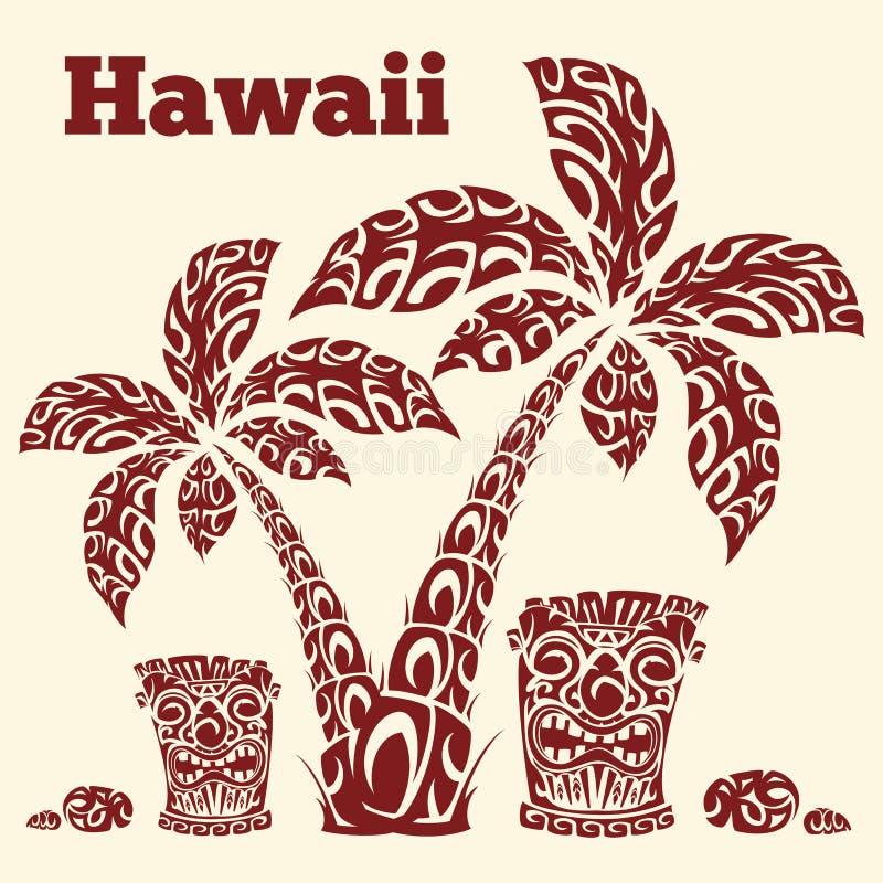 Hawaiiaanse illustratie met palmen, totem totake en overzeese stenen in de vorm van traditionele Polynesische patronen stock illustratie