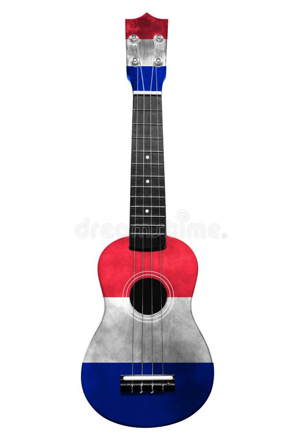 Hawaiiaanse nationale gitaar, ukelele, met een geschilderde vlag van Frankrijk, op een wit geïsoleerde achtergrond, als symbool v vector illustratie