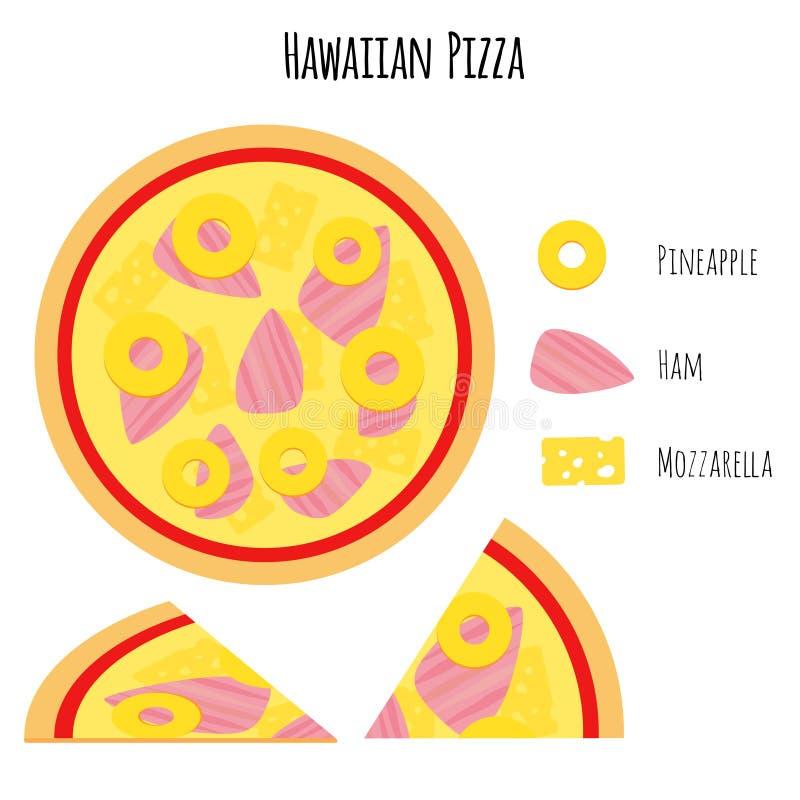 Hawaiiaanse pizza met ingrediënten vector illustratie
